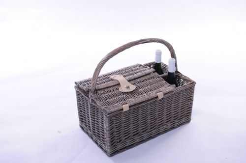 2 Person Bottle Hamper with Natural Lining